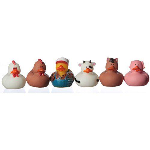 One Dozen (12) Rubber Ducky Farm Animal Party Favors [Toy]