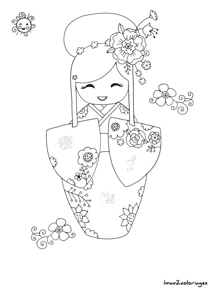 coloriage poupee japonaise numero 14