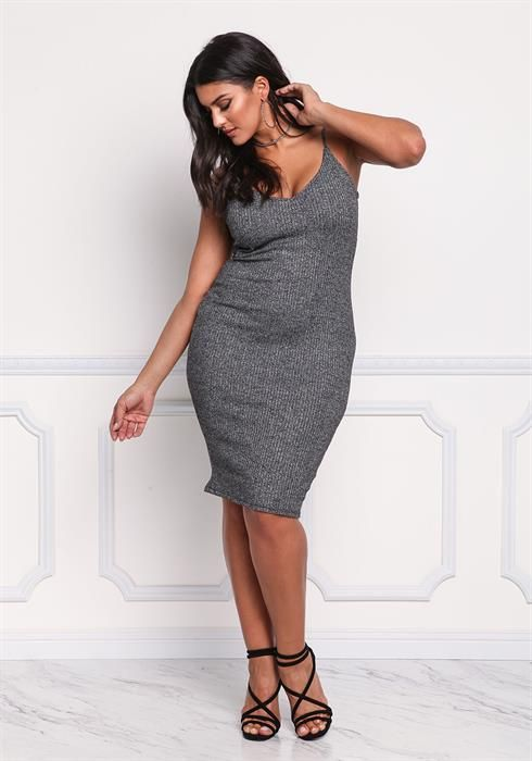 24.46---Plus Size Sparkle Caged Bodycon Dress