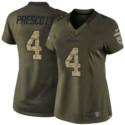 Nike Dallas Cowboys Women's #4 Dak Prescott Limited Green Salute to Service NFL Jersey