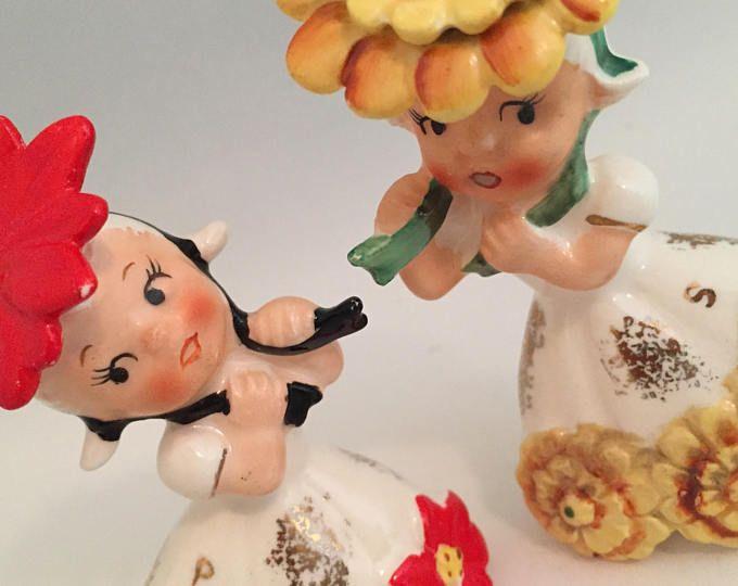Napco calendar girl birthday month flower girl salt and pepper shakers November December Chrysanthemum Poinsettia