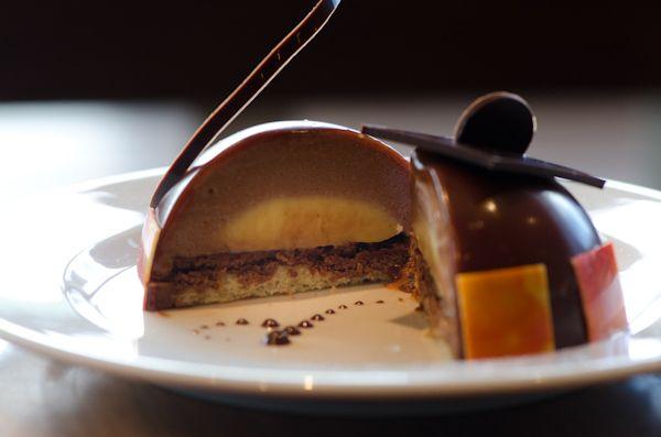 Thomas Haas, TH Patisserie: Milk Chocolate Passionfruit Cake with Crispy Hazelnut Wafers, and Orange Almond Cake-bottom