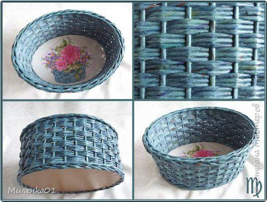 Поделка изделие Плетение Корзины выставка Трубочки бумажные фото 8