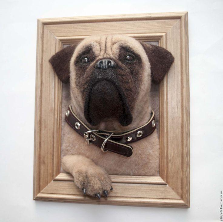 Панно собаки бульмастиф - коричневый, панно в подарок, панно настенное, панно для интерьера, питомец