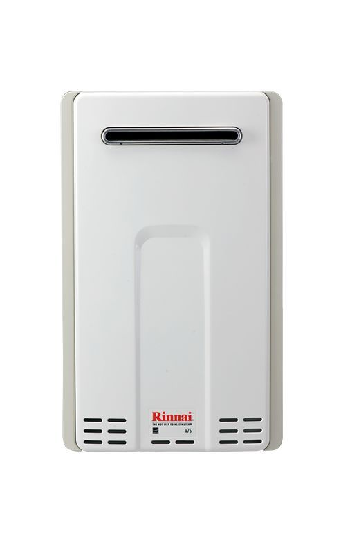 Rinnai V75EN 7.5 GPM Residential Outdoor Natural Gas Tankless Water Heater with White Tankless Water Heaters Whole House Gas/Propane