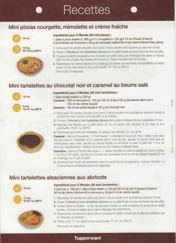 Fiche recette Moule à mini tartelettes  2/2 - Tupperware : Mini pizzas courgette mimolette et crème fraiche, Mini tartelette au chocolat noir et caramel beurre salé, Mini tartelettes alsaciennes aux abricots