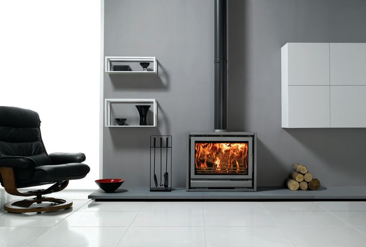 Electric Free Standing Wood-Burning Stove | Stovax Riva F76 Freestanding stove in Storm with removable handle in ...
