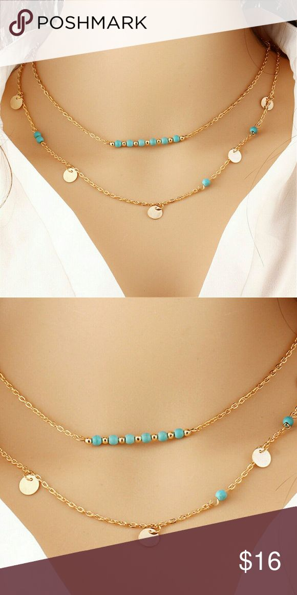 Yellow gold plated Necklace Pendant  blue stones New. One piece.  2 layer. One hook Jewelry Necklaces
