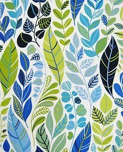 scandinavian fabric 50s 60s vtg retro Heals era leaves