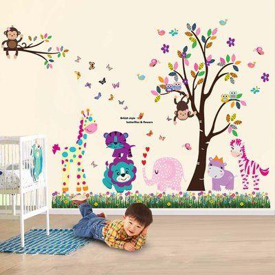 walsplus wand sticker aufkleber papier kunst dekoration fr hliche tiere baum kinderzimmer deko. Black Bedroom Furniture Sets. Home Design Ideas