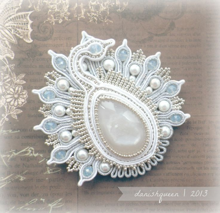 white peacock soutache