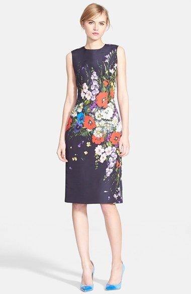 Oscar de la Renta Floral Print Silk Faille Pencil Dress available at #Nordstrom