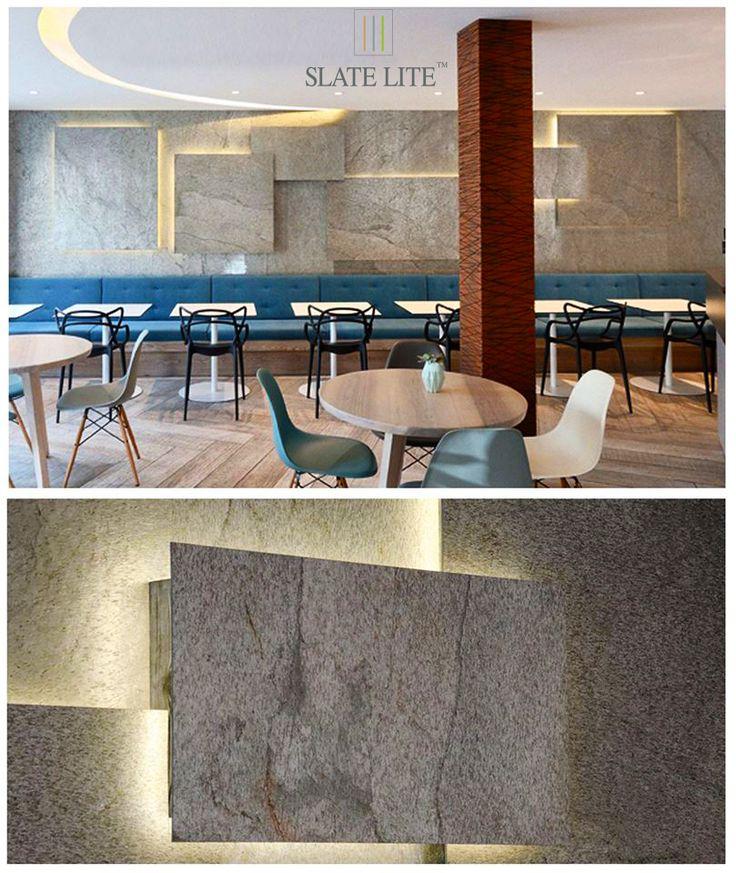 Kreatív formák, világítás Slate Lite Argento ultravékony kőburkolatokkal.