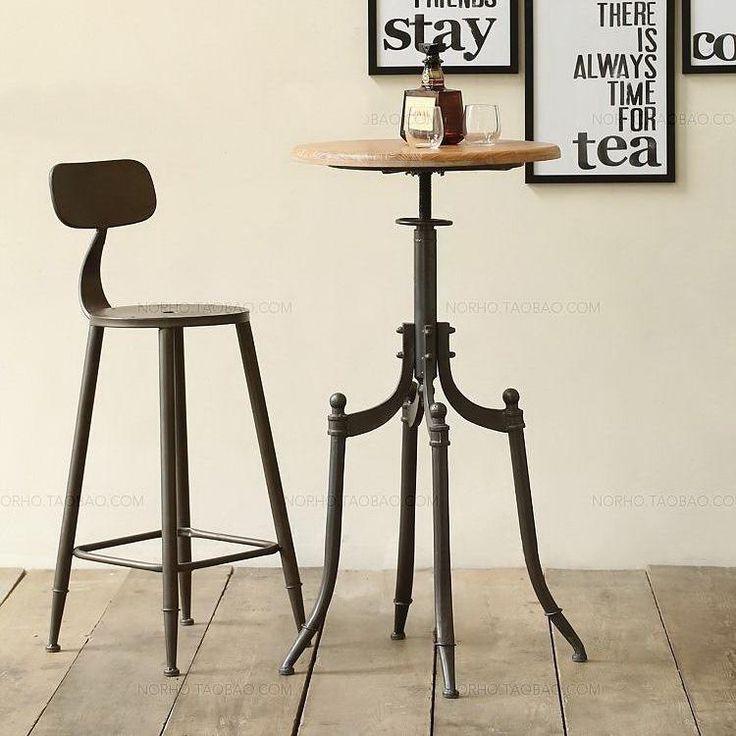 Retro Vintage Metal Bar Chair, Bar Table Lift, 100% Wooden Bar Table,