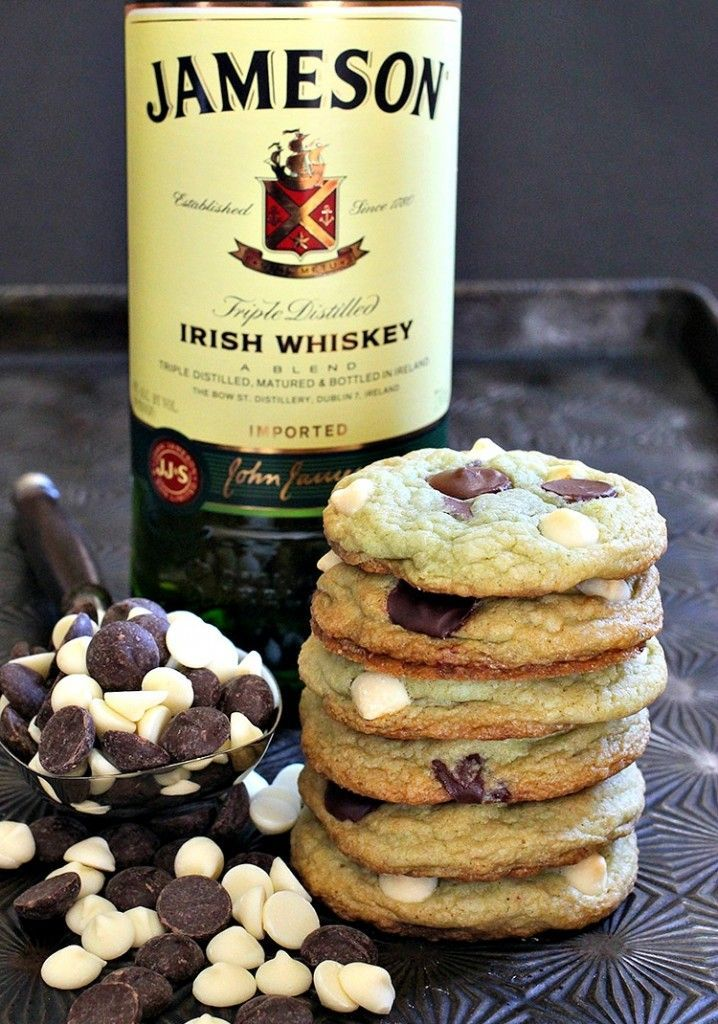 Try these Jameson Mint Chocolate Chip Cookies for St. Patrick's Day!