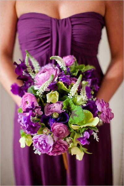 Purple green wedding bouquet flowers