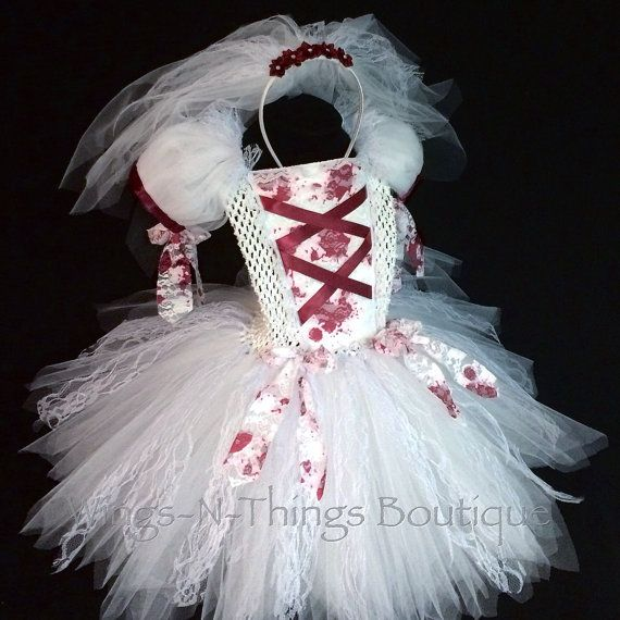 ZOMBIE BRIDE COSTUME, Princess Tutu Dress Set w/ Tulle Veil Headband, Halloween, Blood, Red, White, Vampire, Dead, Kids, Girls, Toddler
