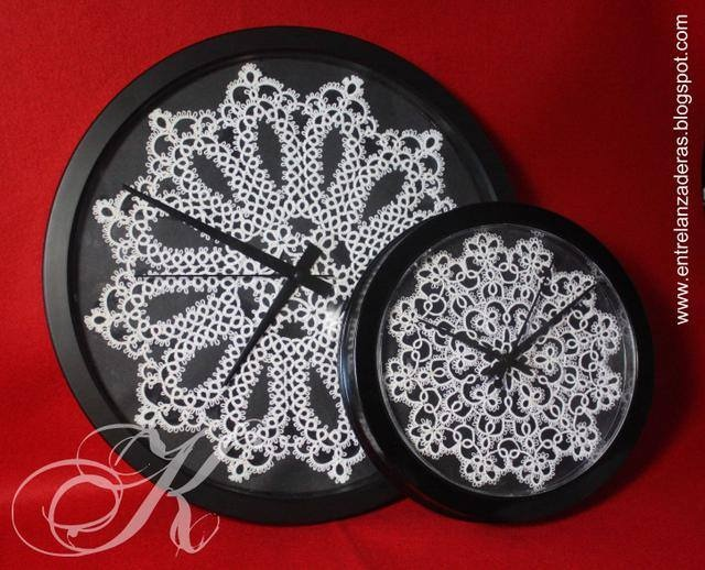 Wall Clocks by Karen Cabrera. Posted on FB tatting group