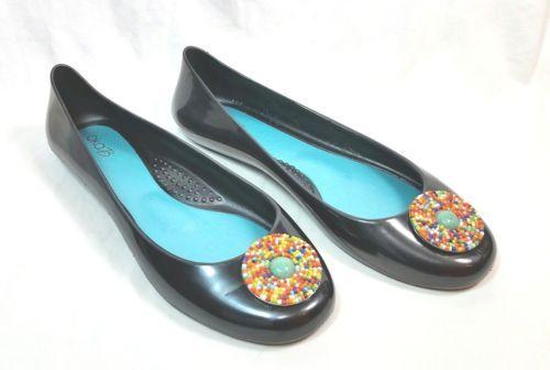 OKA-B-Black-Ballet-Flats-Orange-Blue-Yellow-Green-Gemstones-Pendant-Size-9-US