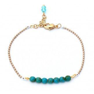 Fijne ball-chain armband met kleine turkooise Tsjechische glaskraaltjes