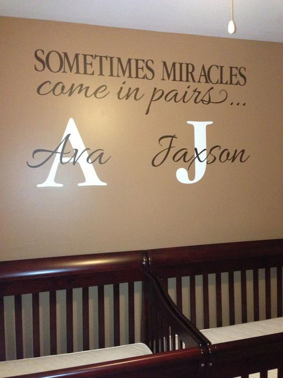 """What a great nursery decor idea for twins. """"Sometimes miracles come in pairs."""" #nurseryideas #twins #twinsinitials"""