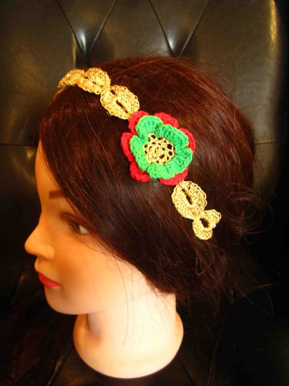 Headband with red green and gold crochet flowers by WhiteBea, $12.00