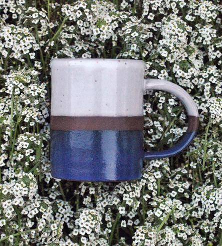 Blue & Cream Clay Coffee Mug by Covet & Ginger on Scoutmob Shoppe