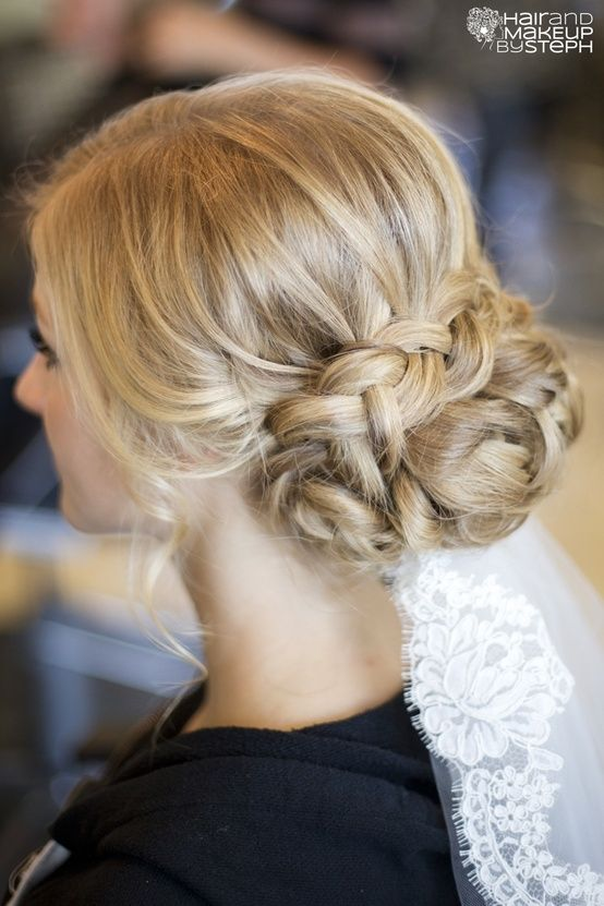 braided bun updo.