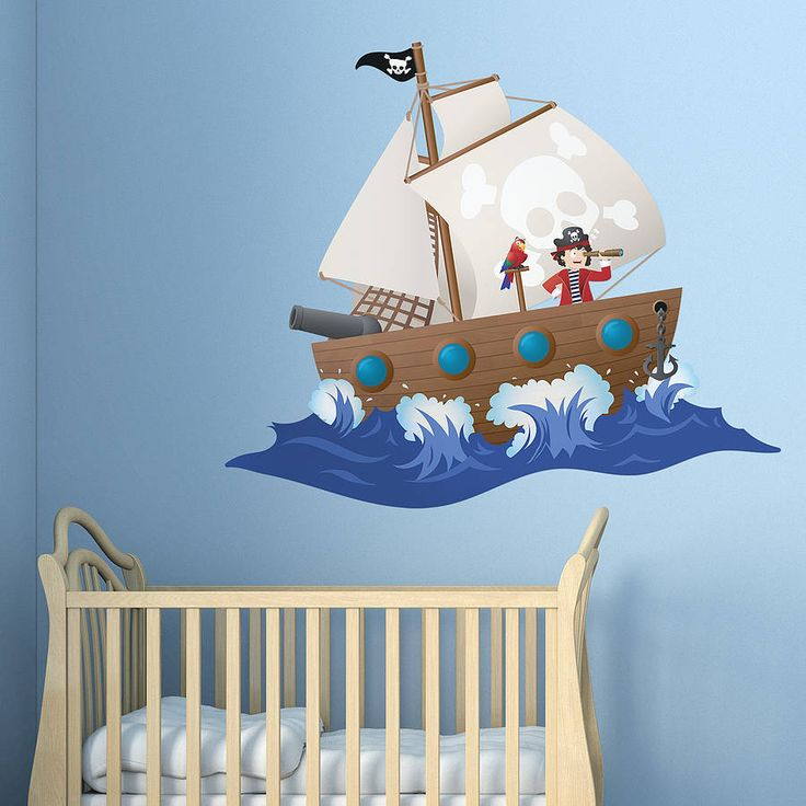 children's pirate ship wall sticker by oakdene designs | notonthehighstreet.com