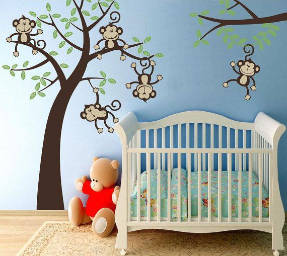 Sale Baby Nursery 5 Happy Monkeys  Swinging by wallvinyldesigns, $115.00