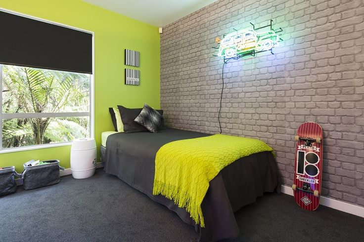 brick wallpaper bedroom the reveal a zingy lime green wall teamed with cool 10945