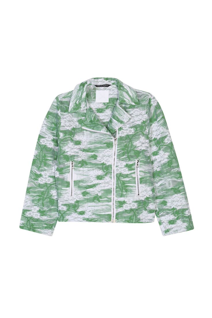 <p>A green & white floral luxury jersey biker jacket featuring silver Swiss Riri zips on the sleeves, ...