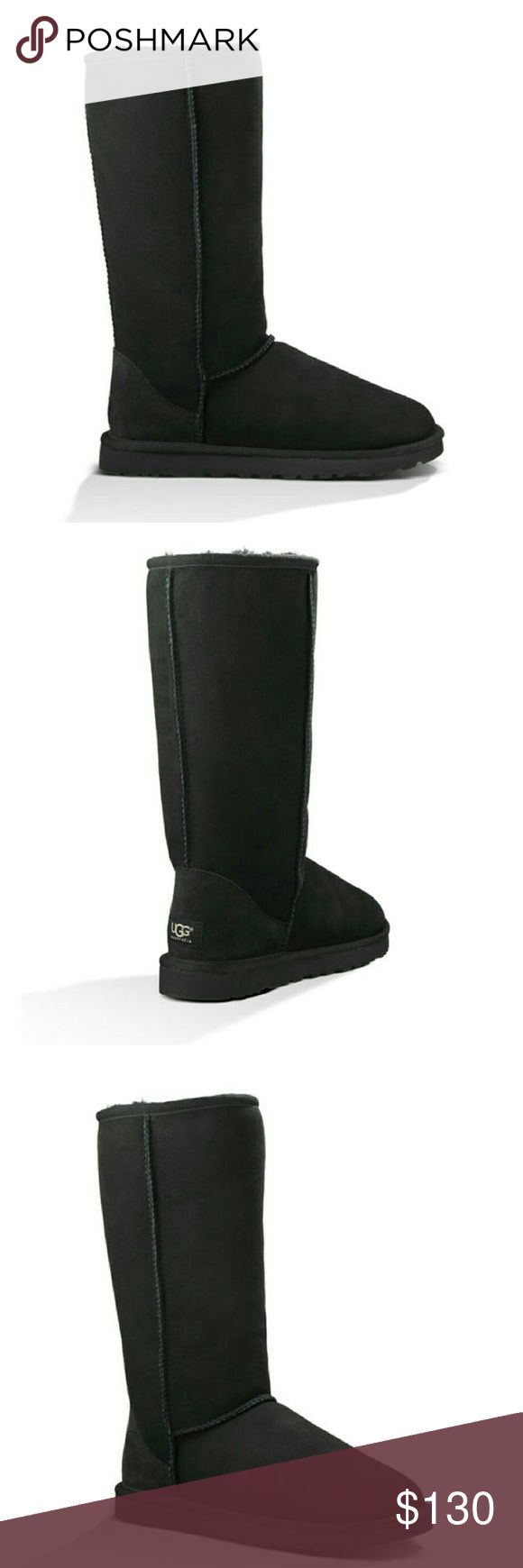 Never worn. Ugg Australia classic tall size 7 blk Brand new! 100% sheepskin, bought at the Ugg store in chicago. Retail price is $195, asking $100! I've never worn these, they are in the original box. :) UGG Shoes Winter & Rain Boots