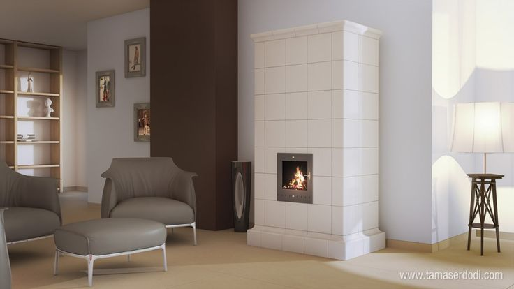 Szentesi Tile Stove interior http://tamaserdodi.com  #3D #visual #viz #furniture #tile #stove #design #books #book #modern #flat
