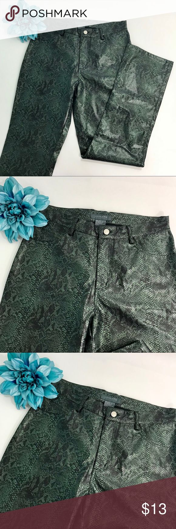 """Yumata Brand Began Leather Green Snake Print Pants Yumata Brand vegan leather green snake print pants. Very sexy and flattering on! Straight leg boot cut.   Size: 13  Measurements: waist 16"""", rise 10"""", inseam 31"""".  Please measure one of your own garments to compare for size.  Shipping: I normally ship in one day (maybe 2).   Please check out all the pictures above because they are part of the description. Thank you for looking and I invite you to check out my other listings for more deals…"""