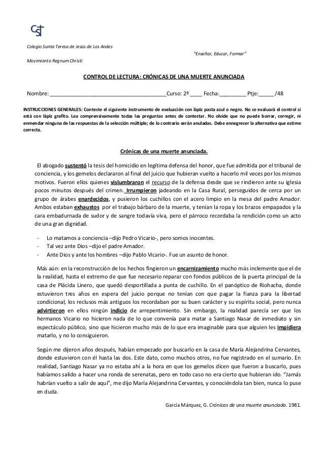 """Colegio Santa Teresa de Jesús de Los Andes """"Enseñar, Educar, Formar"""" Movimiento Regnum Christi CONTROL DE LECTURA: CRÓNICA..."""