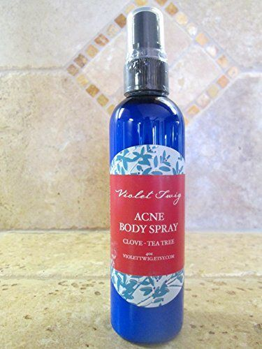 Acne Body Spray 4oz - Acne Treatment - Natural & Organic - Skin Care - Organic Skin Care - Natural Acne Treatment - Body Acne - Clears Back Acne - Clove Essential Oil - Acne Spray - Back Acne & Body Acne - Clear Acne Naturally - Essential Oil - Clove - Cinnamon Bark - Tea Tree - Personal Care Product - Safe and Effective - Antibacterial Spray for Acne -- 4oz PET Cobalt Plastic Bottle with Atomizer - http://essential-organic.com/acne-body-spray-4oz-acne-treatment-natur