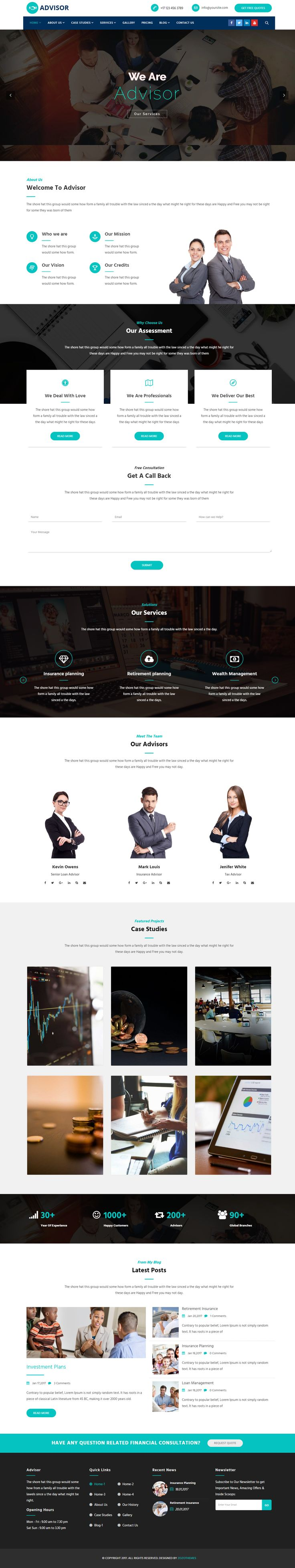 Advisor is a Professional WordPress Theme for Consultancy, Business, Finance. It is just as easy to customize to fit your needs. Design your website just how you like it with Drag & Drop Builder (Visual Composer) which included in Advisor. It is ultimate flexible with loads of nice options and features.