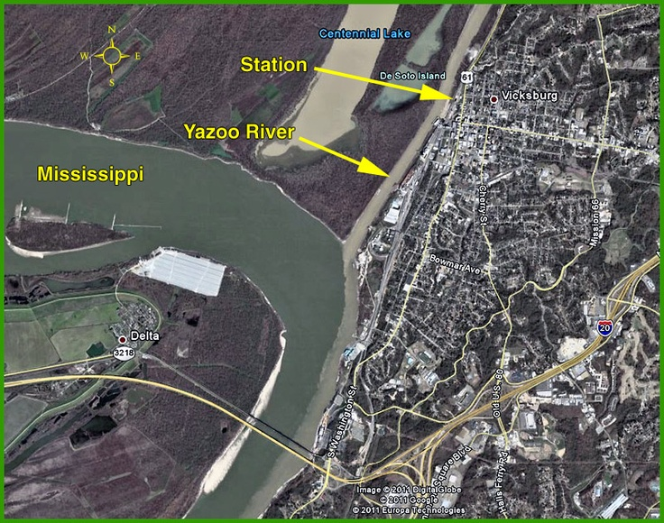 "Confluence of the Yazoo River and the Mississippi, in Vicksburg, MS, where ""Station"" is the soon-to-be-open train museum."