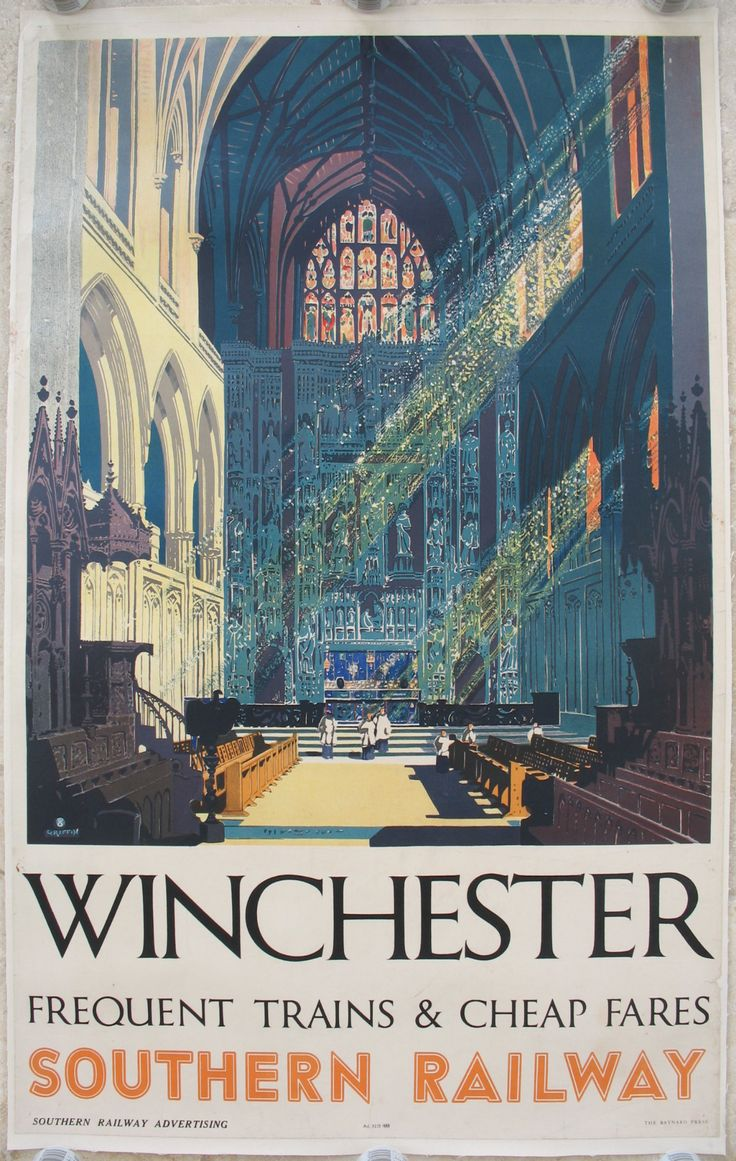 Winchester - Frequent Trains and Cheap Fares - Southern Railway, by Frederick Griffin. The interior of Winchester's Cathedral, with the sunlight streaming through the stained glass windows. Original Vintage Railway Poster available on originalrailwayposters.co.uk