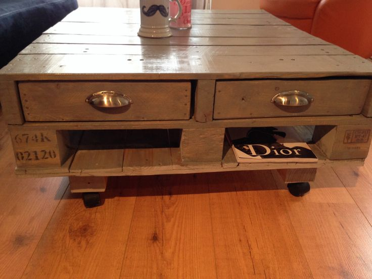 Table basse en palette avec tiroir - Petite table basse pas cher ...