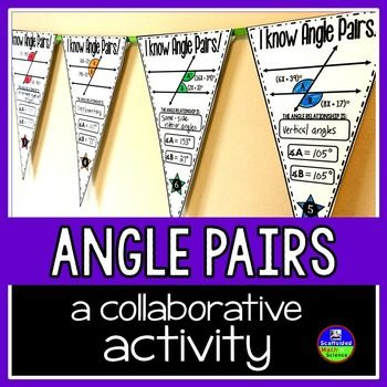 Parallel lines cut by a transversal. In this collaborative activity students find the measures of angles created when parallel lines are cut by a transversal. Angle relationships include: corresponding, alternate interior, vertical, same-side interior, alternate exterior and supplementary.