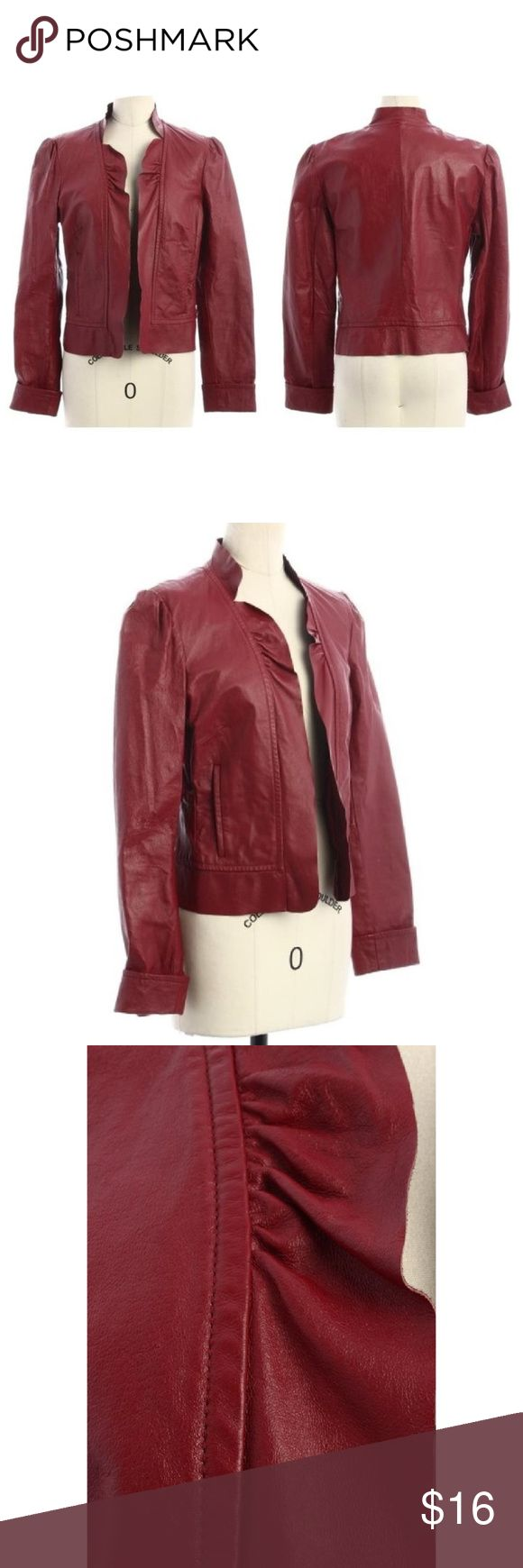 """Spiegel Ruffle Trim Open Front Red Leather Jacket Good Used Condition Leather shell cleaned (leather cream) and conditioned (mink oil). Brand name and material content tags have been removed. Review all photos carefully as they are considered part of the Item Description.  Material Content: 100% Leather  Approximate measurements 17"""" chest (straight across front, armpit to armpit); 33"""" from nape of neck, over shoulder, down sleeve to end; 19.5"""" length (from nape of neck to hem) Spiegel…"""