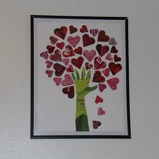 Cute for Valentines Day - it's made by cutting hearts and the hand/arm shape from magazines - glue to poster board, canvas or foam board and frame.  Great for kids to do for Mom & Dad...