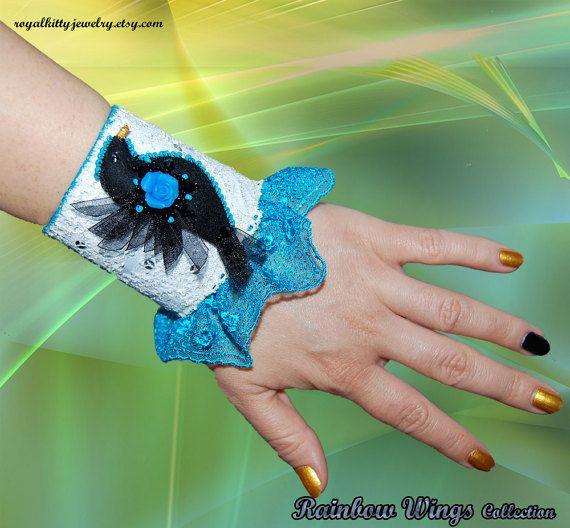 Lace cuff bracelet turquoise bracelet by RoyalKittyJewelry on Etsy