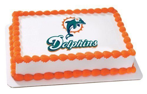 """NFL Miami Dolphins ~ Edible Cake Image Topper  Image is Approximately 7.5"""" x 10""""  Image will work on any 1/4 Sheet Cakes  Edible Image Icing Cake Topper"""