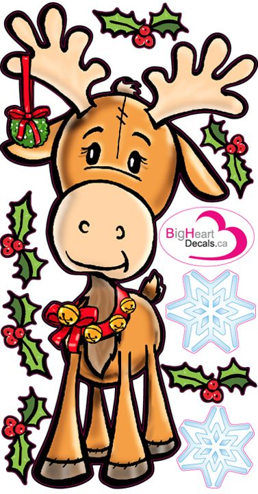 Christmas Moose 2 from Big Heart Decals Inc. Made in Canada. Fabric stickers or wall decals for nursery or kids playrooms. Sticks on walls, windows and flat surfaces. Movable, removable, no residue. Price: $25.00 - 10.5x20 inches
