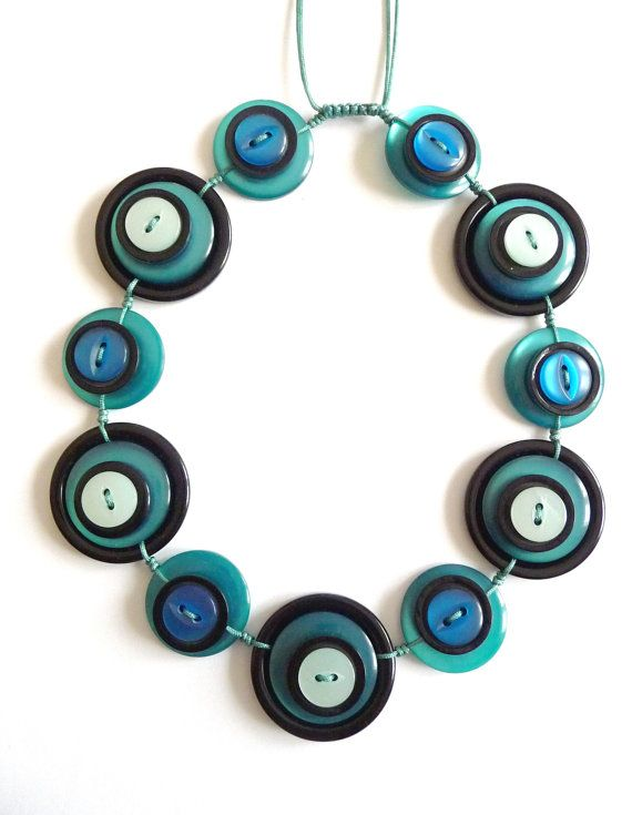 ON SALE - Shiny Deep Turquoise , Blue and Black colour vintage buttons handmade Necklace