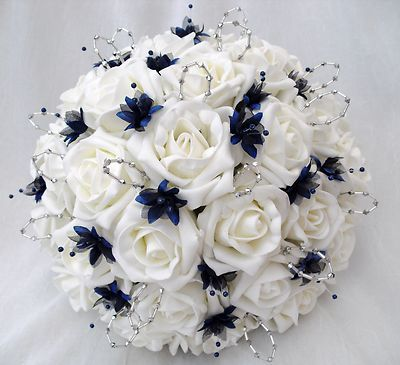 WEDDING FLOWERS - BRIDES WITH 2 BRIDESMAIDS POSY BOUQUETS IN IVORY NAVY BLUE