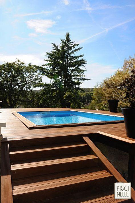 Une piscine techniquement complètement hors-sol mais au rendu esthétique indéniable... quand les notions de hors-sol et de haut de gamme se conjuguent c'est le savoir-faire Piscinelle !